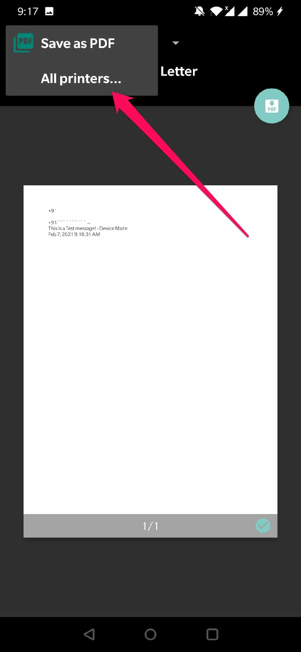 android print text messages